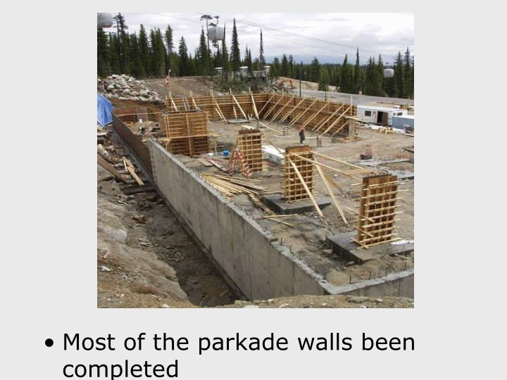 Most of the parkade walls been completed