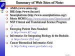 summary of web sites of note