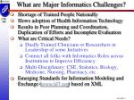 what are major informatics challenges