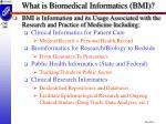 what is biomedical informatics bmi