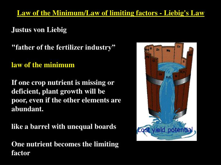 Law of the Minimum/Law of limiting factors - Liebig's Law