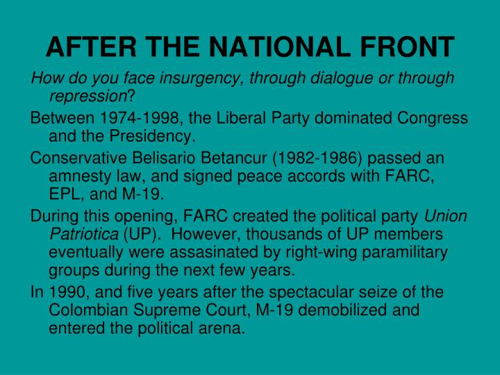 AFTER THE NATIONAL FRONT