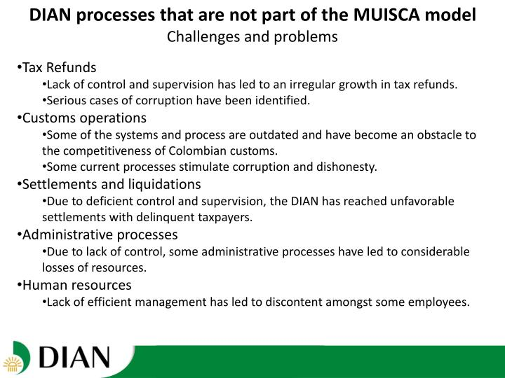 DIAN processes that are not part of the MUISCA model