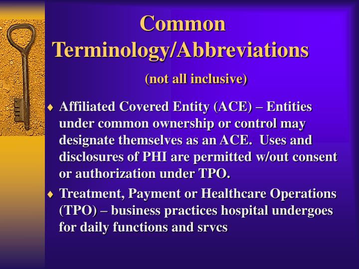 Common Terminology/Abbreviations