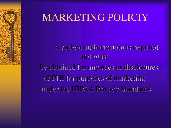MARKETING POLICIY