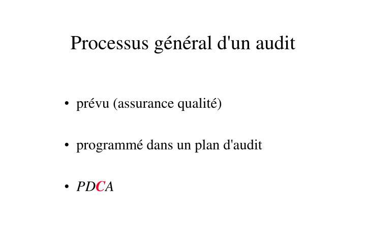 Processus général d'un audit