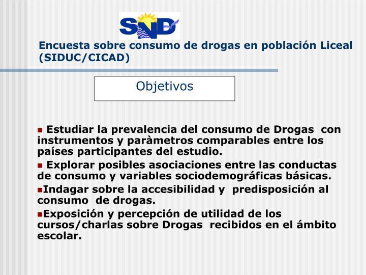 Encuesta sobre consumo de drogas en población Liceal (SIDUC/CICAD)
