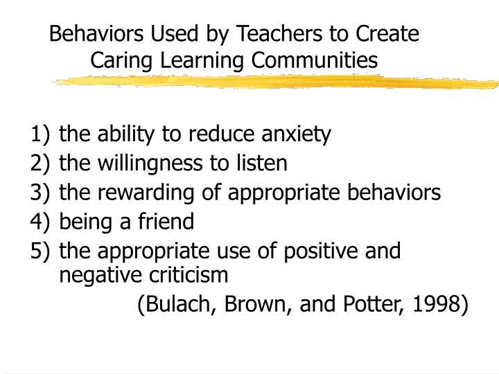 Behaviors Used by Teachers to Create