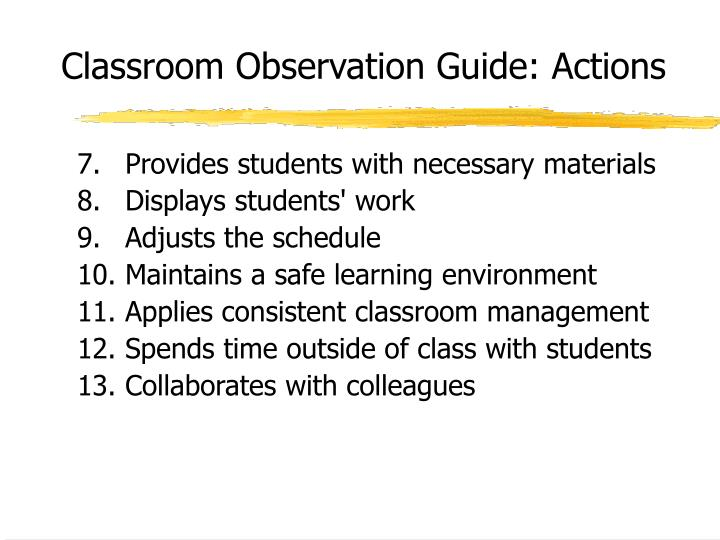 Classroom Observation Guide: Actions