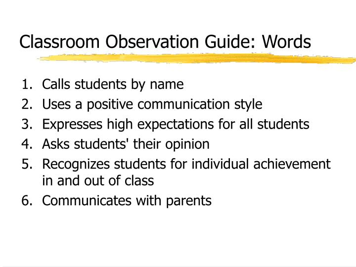 Classroom Observation Guide: Words