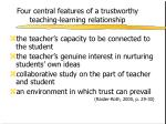 four central features of a trustworthy teaching learning relationship