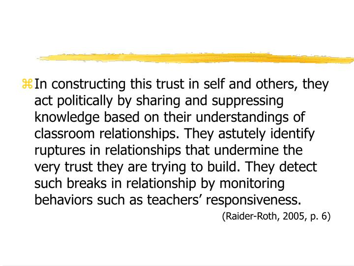 In constructing this trust in self and others, they act politically by sharing and suppressing knowledge based on their understandings of classroom relationships. They astutely identify ruptures in relationships that undermine the very trust they are trying to build. They detect such breaks in relationship by monitoring behaviors such as teachers' responsiveness.