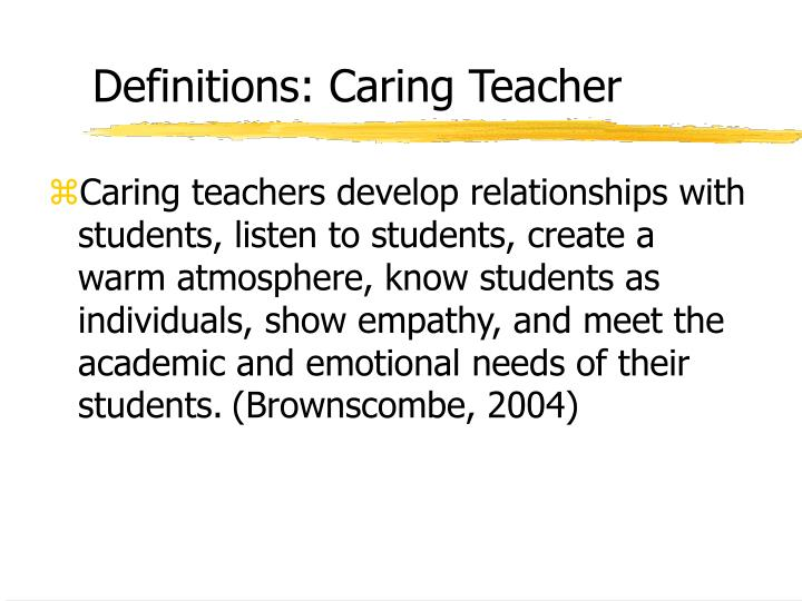 Definitions: Caring Teacher