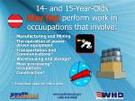 14 and 15 year olds may not perform work in occuupations that involve