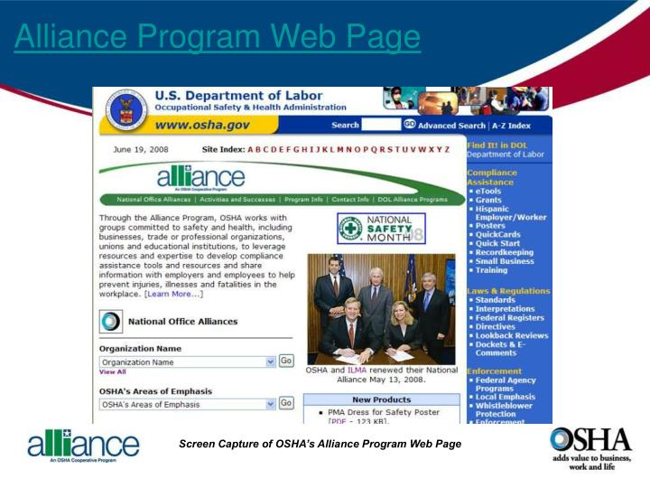 Alliance Program Web Page