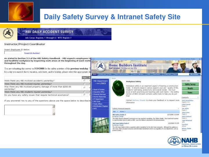 Daily Safety Survey & Intranet Safety Site