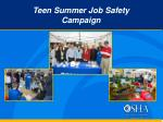 teen summer job safety campaign
