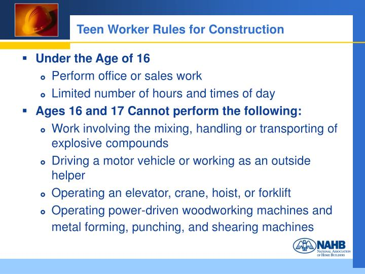 Teen Worker Rules for Construction
