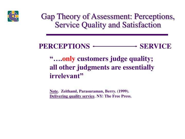 Gap Theory of Assessment: Perceptions, Service Quality and Satisfaction