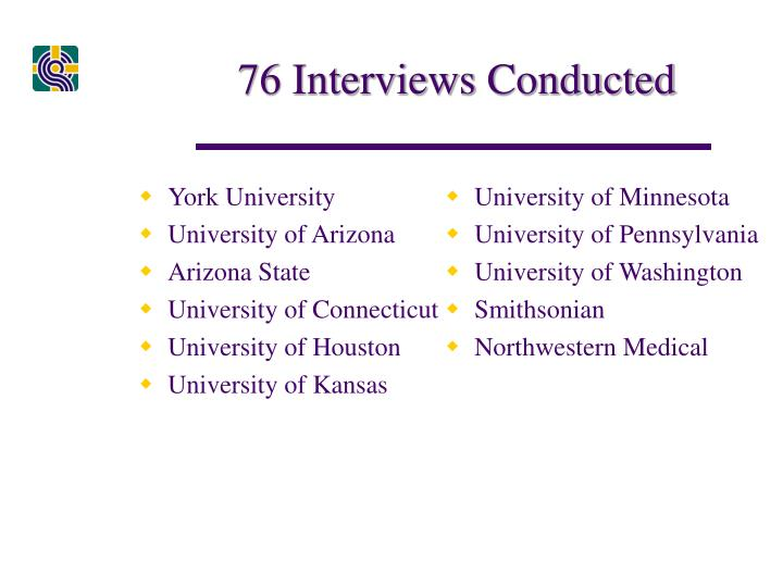 76 Interviews Conducted