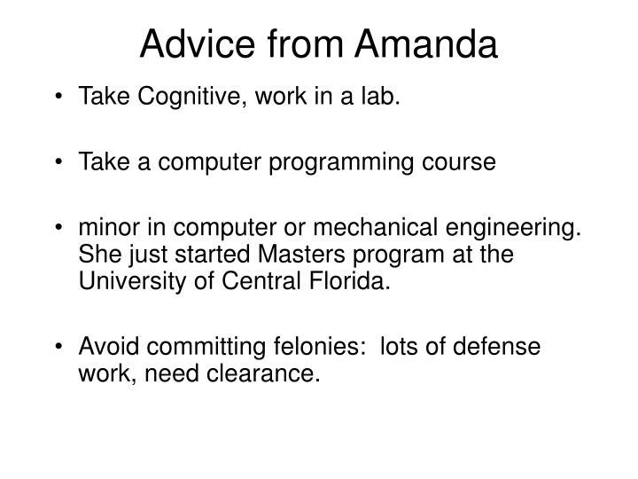 Advice from Amanda