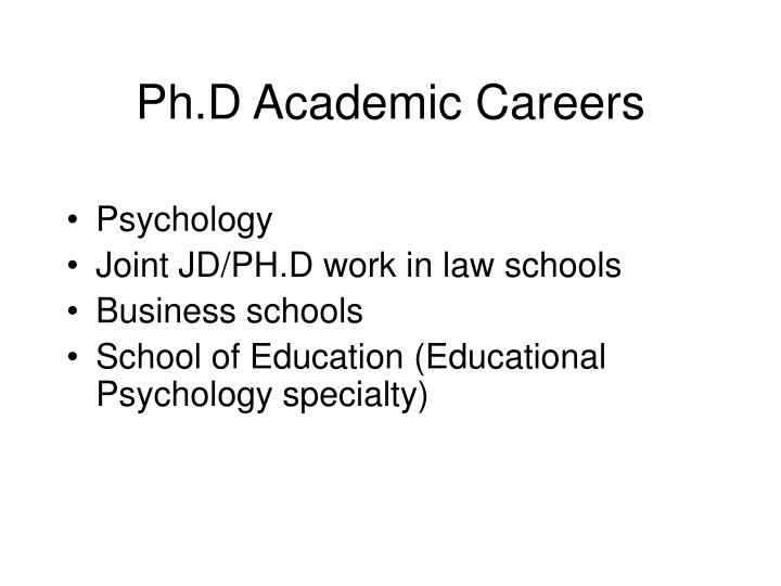 Ph.D Academic Careers