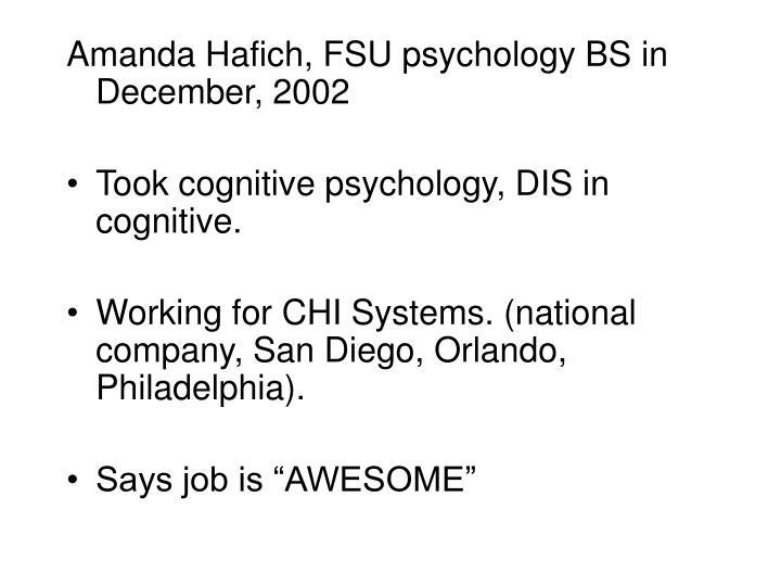 Amanda Hafich, FSU psychology BS in December, 2002