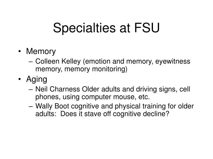 Specialties at FSU
