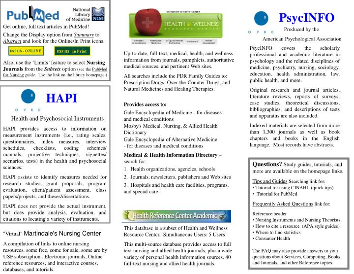 Up-to-date, full-text, medical, health, and wellness information from journals, pamphlets, authorita...