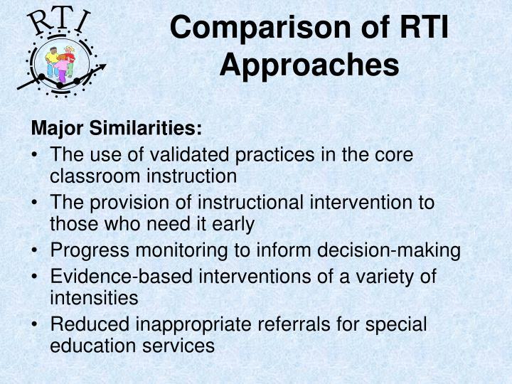 Comparison of RTI Approaches