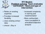 rti models problem solving team evaluates curriculum need and type of intervention