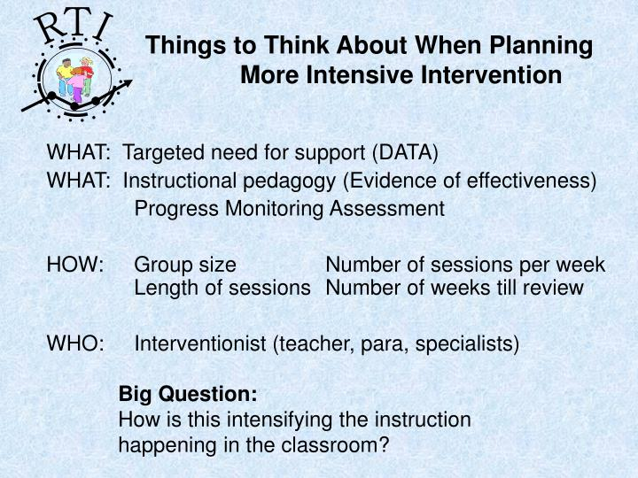 Things to Think About When Planning More Intensive Intervention