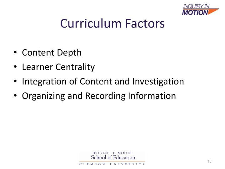 Curriculum Factors