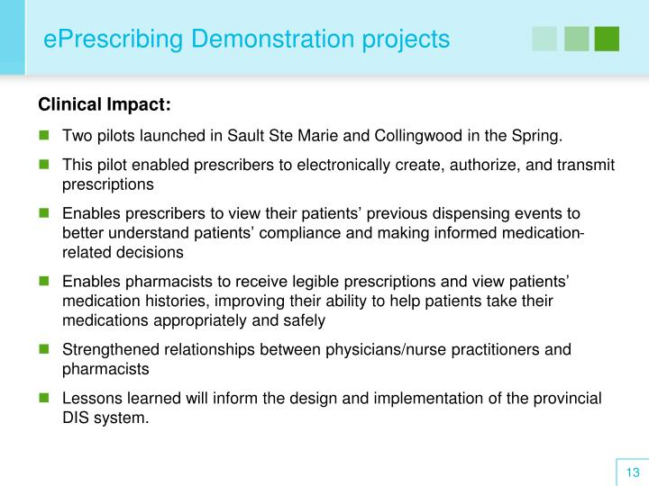 ePrescribing Demonstration projects
