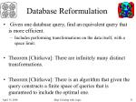 database reformulation
