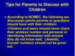 tips for parents to discuss with children