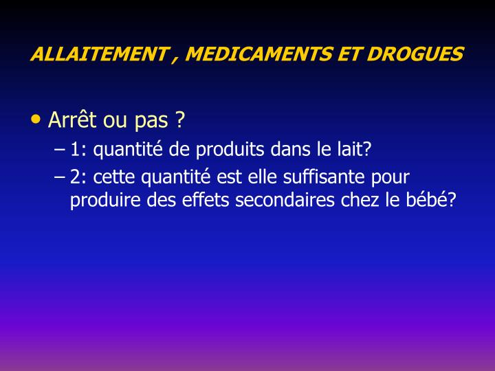 ALLAITEMENT , MEDICAMENTS ET DROGUES