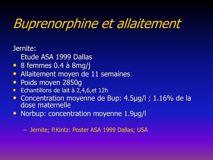 Buprenorphine et allaitement