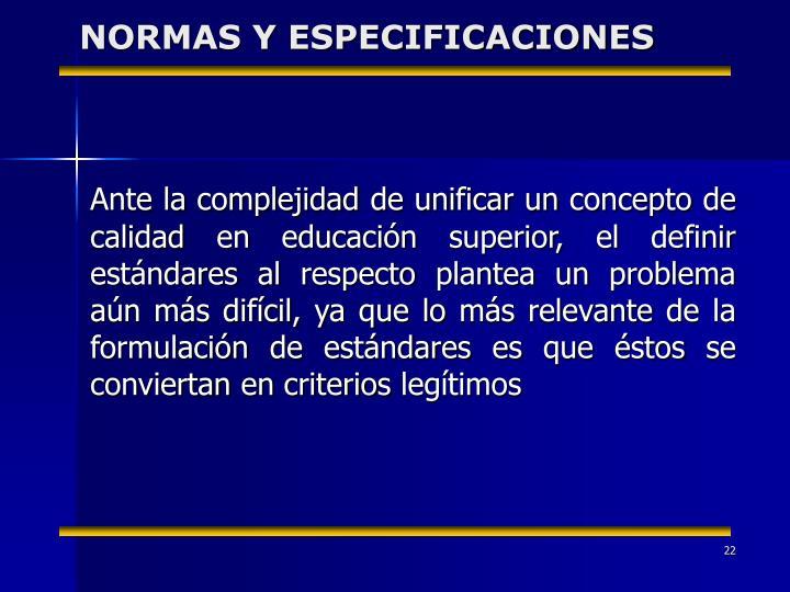 NORMAS Y ESPECIFICACIONES