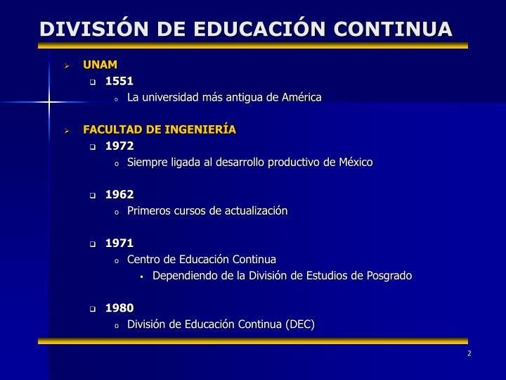 DIVISIÓN DE EDUCACIÓN CONTINUA