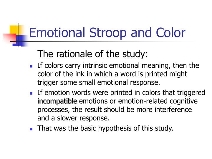 Emotional Stroop and Color