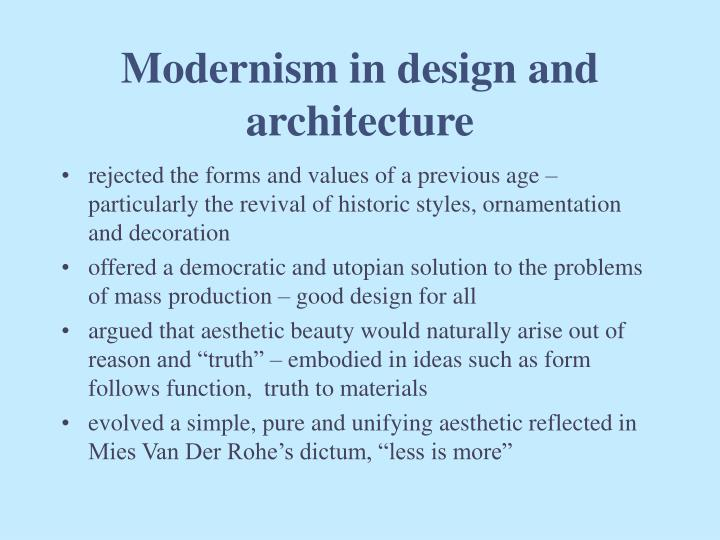 Modernism in design and architecture