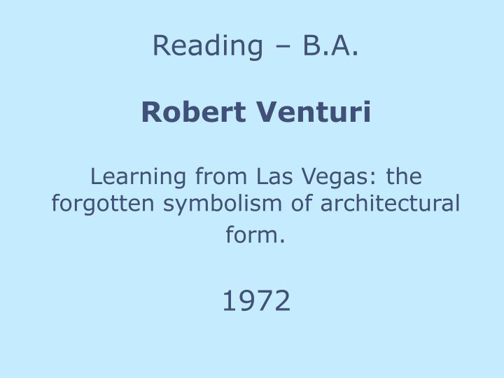 Reading – B.A.