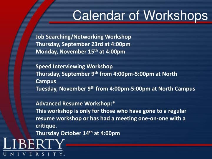 Calendar of Workshops