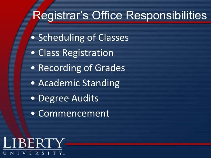 Registrar's Office Responsibilities