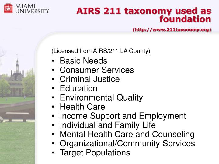 AIRS 211 taxonomy used as foundation