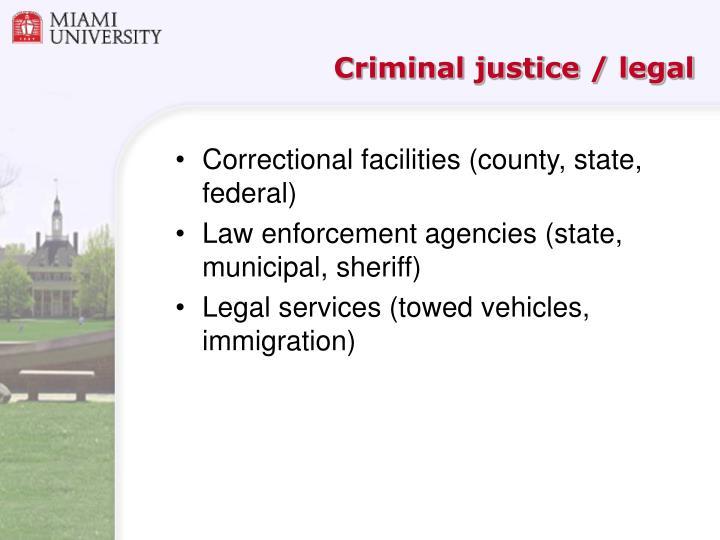 Criminal justice / legal