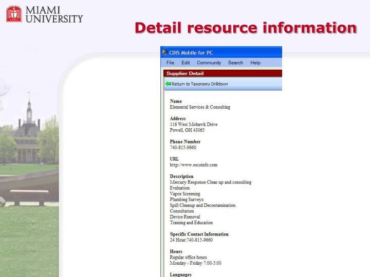 Detail resource information