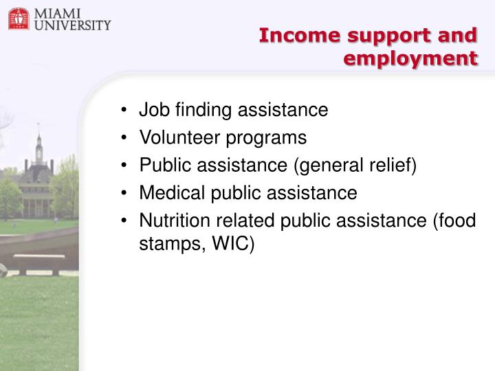 Income support and employment