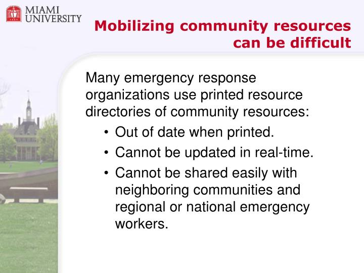 Mobilizing community resources